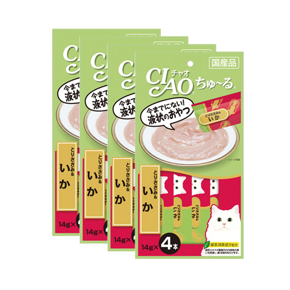 CIAO Cat Snack Churu Chicken Fillet & Squid 14 g. (4 pcs./Pack ) x 4