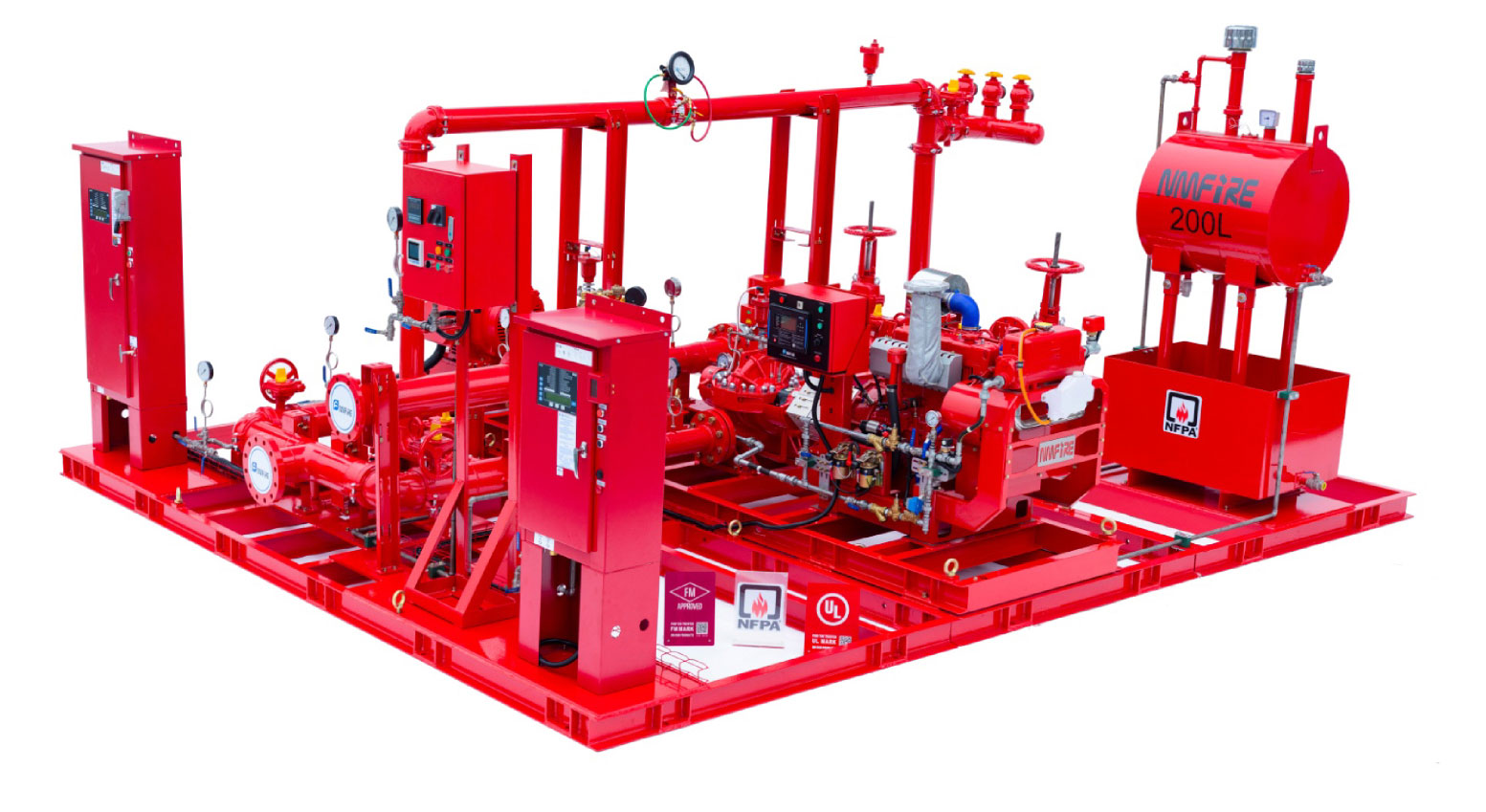 FIRE PUMP ENGINE AND FIRE PUMP MOTOR ON THE SAME PACKAGE.