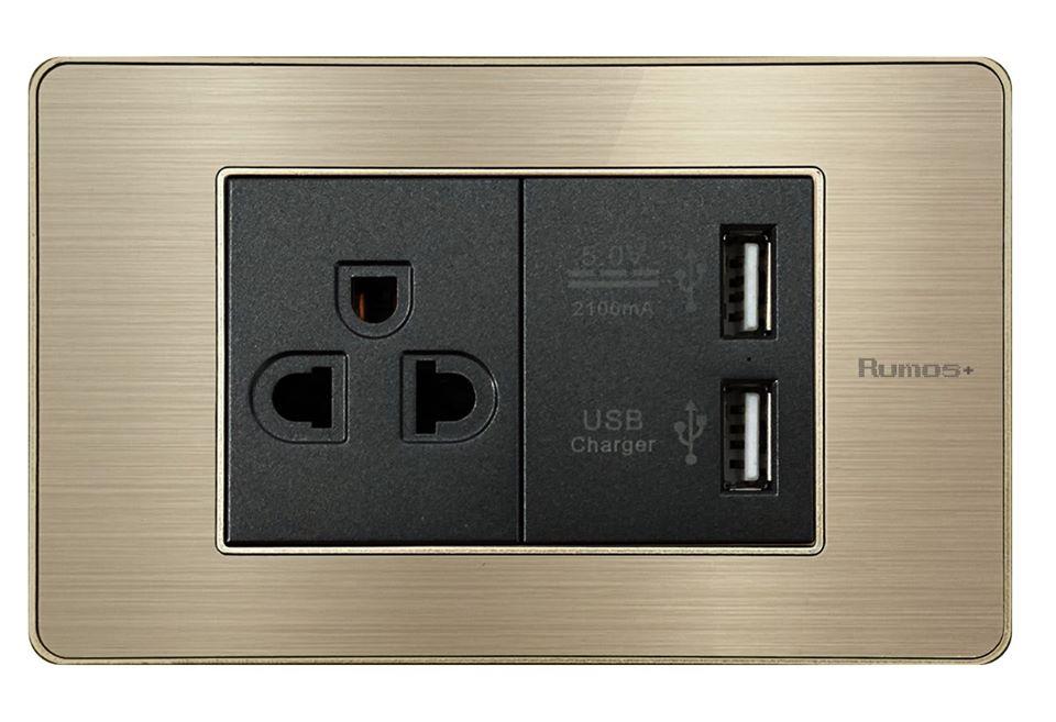 RUMOS PLUS SOCKET WITH USB GOLD