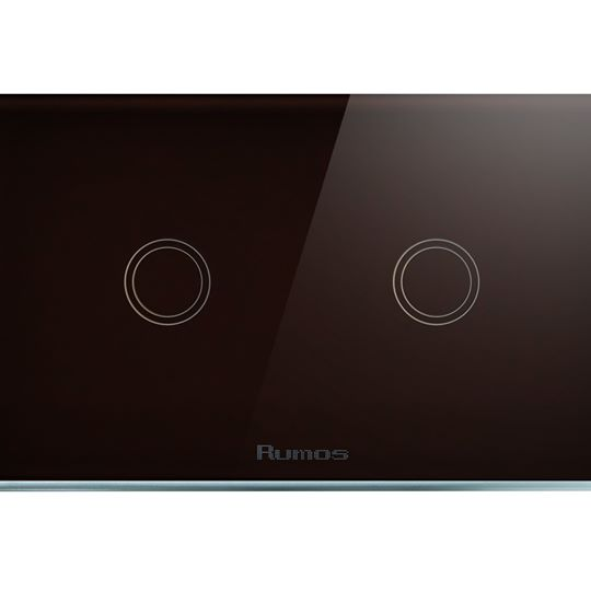 Rumos touch switch 2 gang 2 way ONYX BLACK with remote function