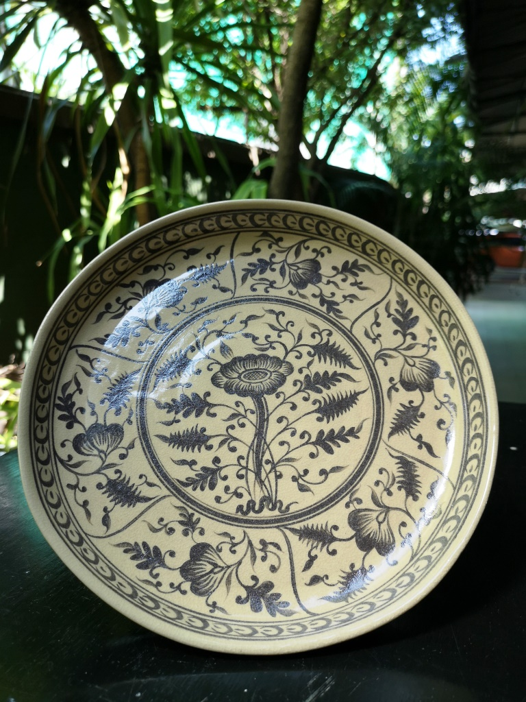 """Ceramic Plate 8"""" Wiang Galong (Brown Flower)"""