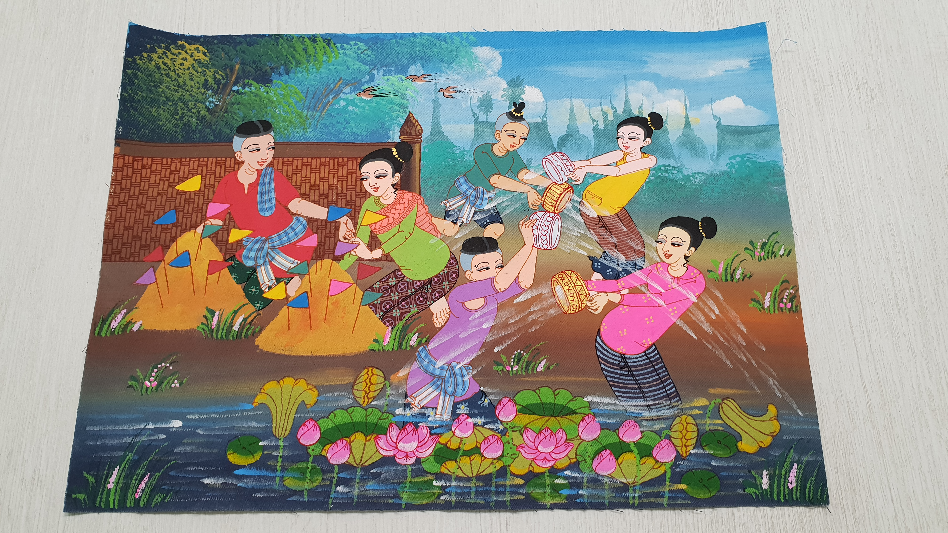 Painting on Canvas (Small) - Thai Water Festival
