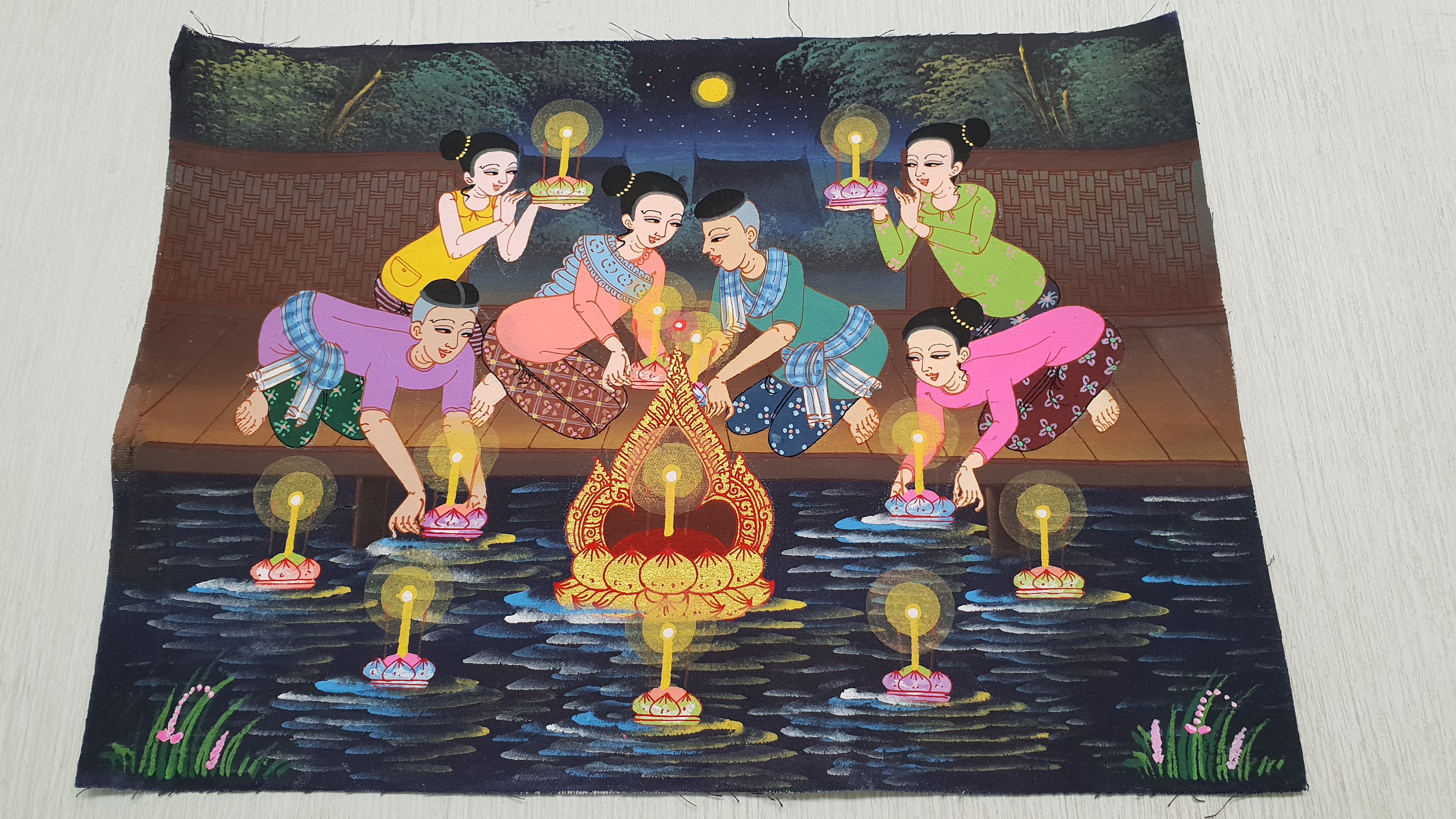 Painting on Canvas (Small) - Kratong Floating Festival