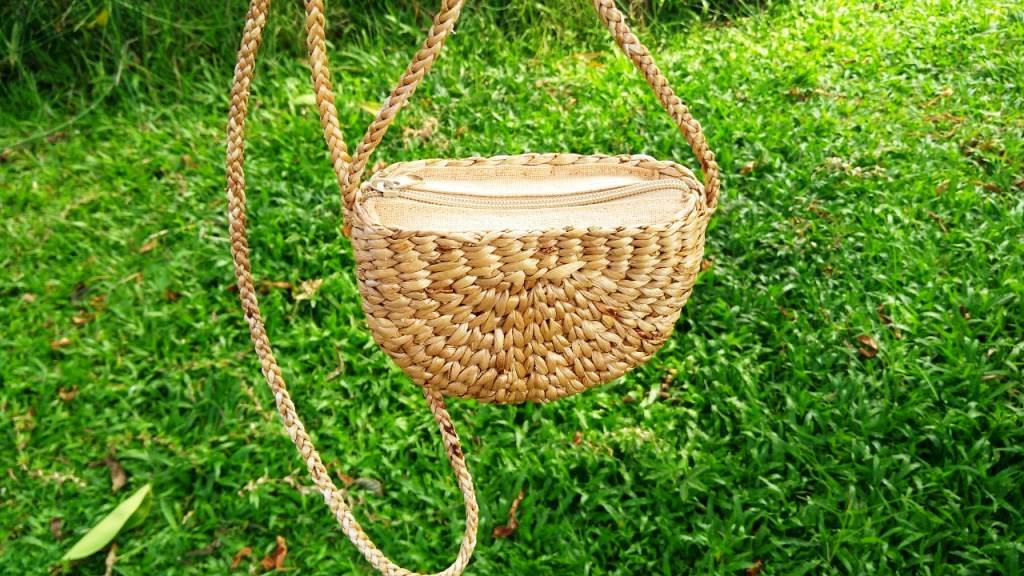 Small crossbody water hyacinth bag
