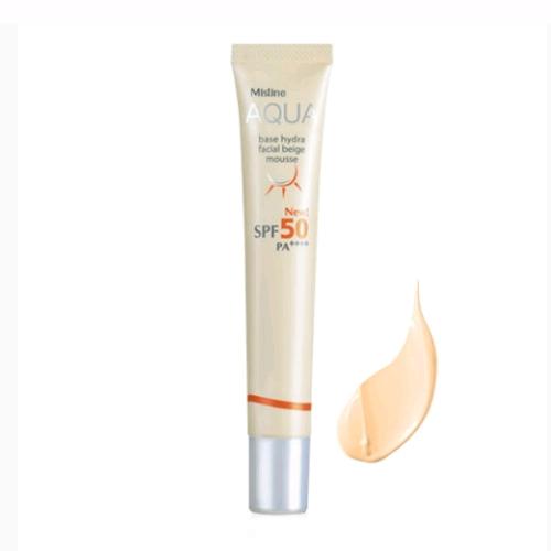 Mistine Aqua Base Hydra Facial Beige Mousse SPF 50 PA++++ 20 ml.