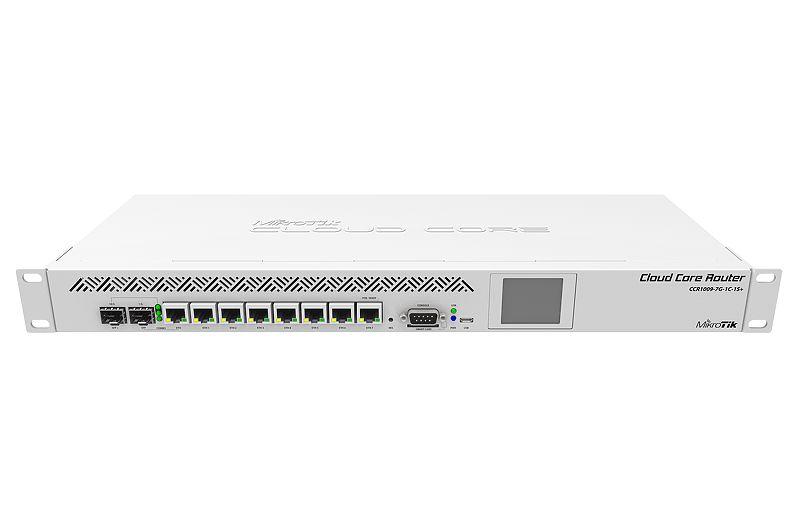 CCR1009-7G-1C-1S+ 1U rackmount, 7x Gigabit Ethernet, 1x Combo port (SFP or Gigabit Ethernet), 1xSFP+ cage, 9 cores x 1.2GHz CPU, 2GB RAM, LCD panel, Dual Power supplies, SmartCard slot, RouterOS L6
