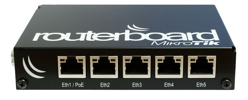 RB450Gx4 Four core 716MHz CPU, 1GB RAM, 5xGigabit Ethernet, PoE out on port #5, RouterOS L5