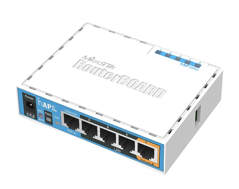hAP ac lite Dual-Concurrent 2.4/5GHz AP, 802.11ac, Five Ethernet ports, PoE-out on port 5, USB for 3G/4G support