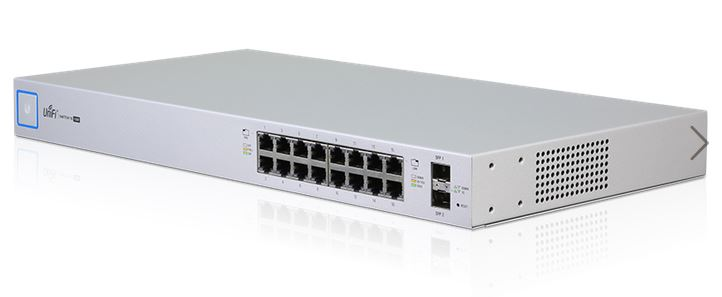 US‑16‑150W UniFi Switch 16 Port Managed  PoE+ 24V and 802.3AF/AT Gigabit Switch with SFP