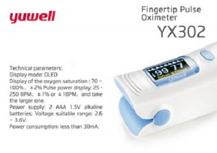 Fingertip Pulse Oximeter model YX302