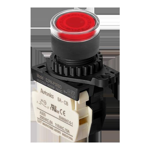 สวิทช์ปุ่มกด dia 22mm S2PR-P3RBL(RED NC), LED 110-250VAC