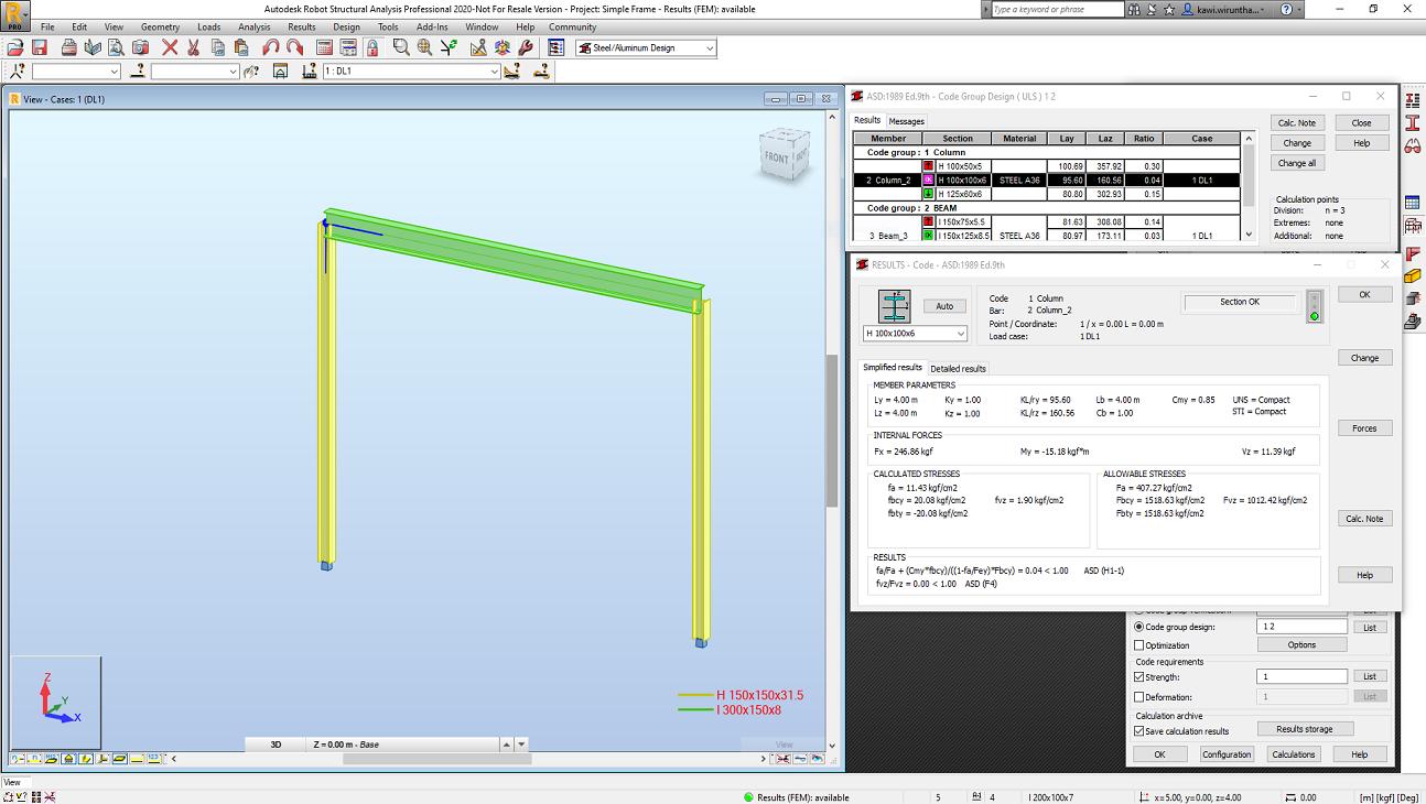 การวิเคราะห์โครงสร้างเหล็กโดยใช้โปรแกรม Autodesk Robot Structural Analysis Professional 2020 (ตอนที่ 7)