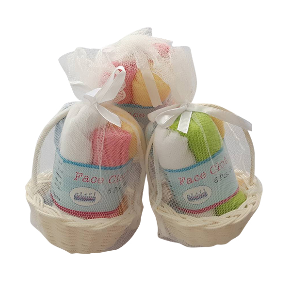6 Pack m.ma.me. Cotton Hand & Face cloths in basket