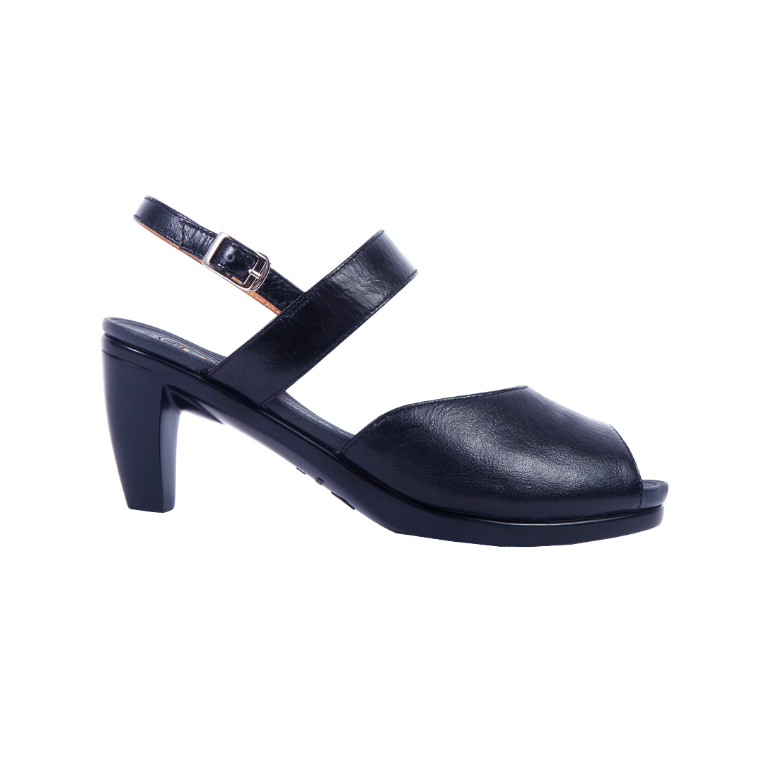 Black Peep Toe Sling Back