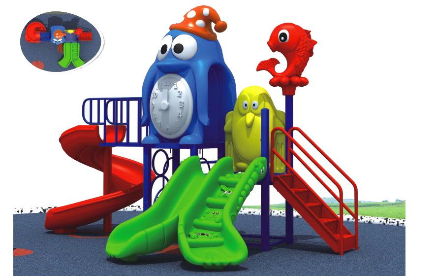 Sealplay สนามเด็กเล่น กระดานลื่น สไลเดอร์- เครื่องเล่นสนาม C ชุดเพนกวินบราเดอร์