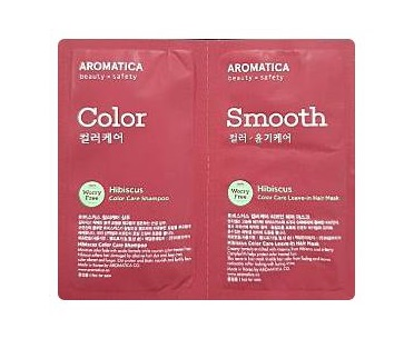 aromatica ฺHibiscus color care shampoo 3ml+hair mask 3ml