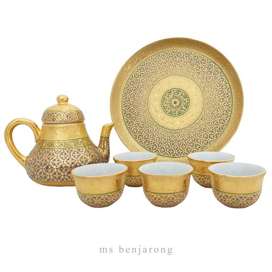 Chompo Tea set | Benjarong | Gold