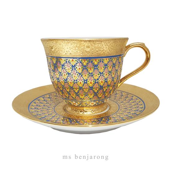 Coffee Cup Benjarong   Gold   Big