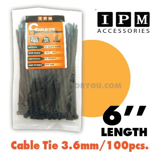Nylon Cable Tie IPM สีดำ ยาว6นิ้ว