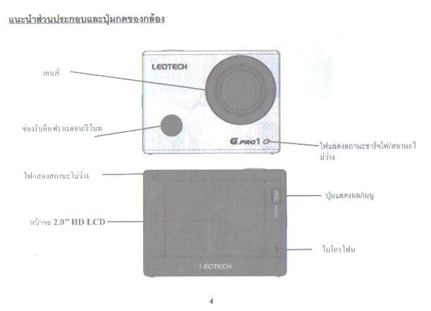 คู่มือการใช้งาน กล้องแอ็คชั่นแคม/กล้องกันน้ำ/กล้องเอนกประสงค์ Sports Camera LEOTECH Full HD รุ่น G.PRO 1