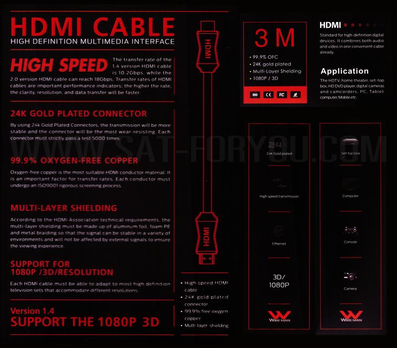 สาย HDMI Version1.4 Wireman หัวชุบทอง24K สายทองแดงแท้ ความยาว 3เมตร