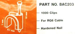 กิ๊ปตอกสาย/ตะปูตอกสายRG6 IPM แพ็คถุง 1,000ตัว สีขาว