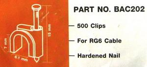 กิ๊ปตอกสาย/ตะปูตอกสายRG6 IPM แพ็คถุง 500ตัว สีขาว