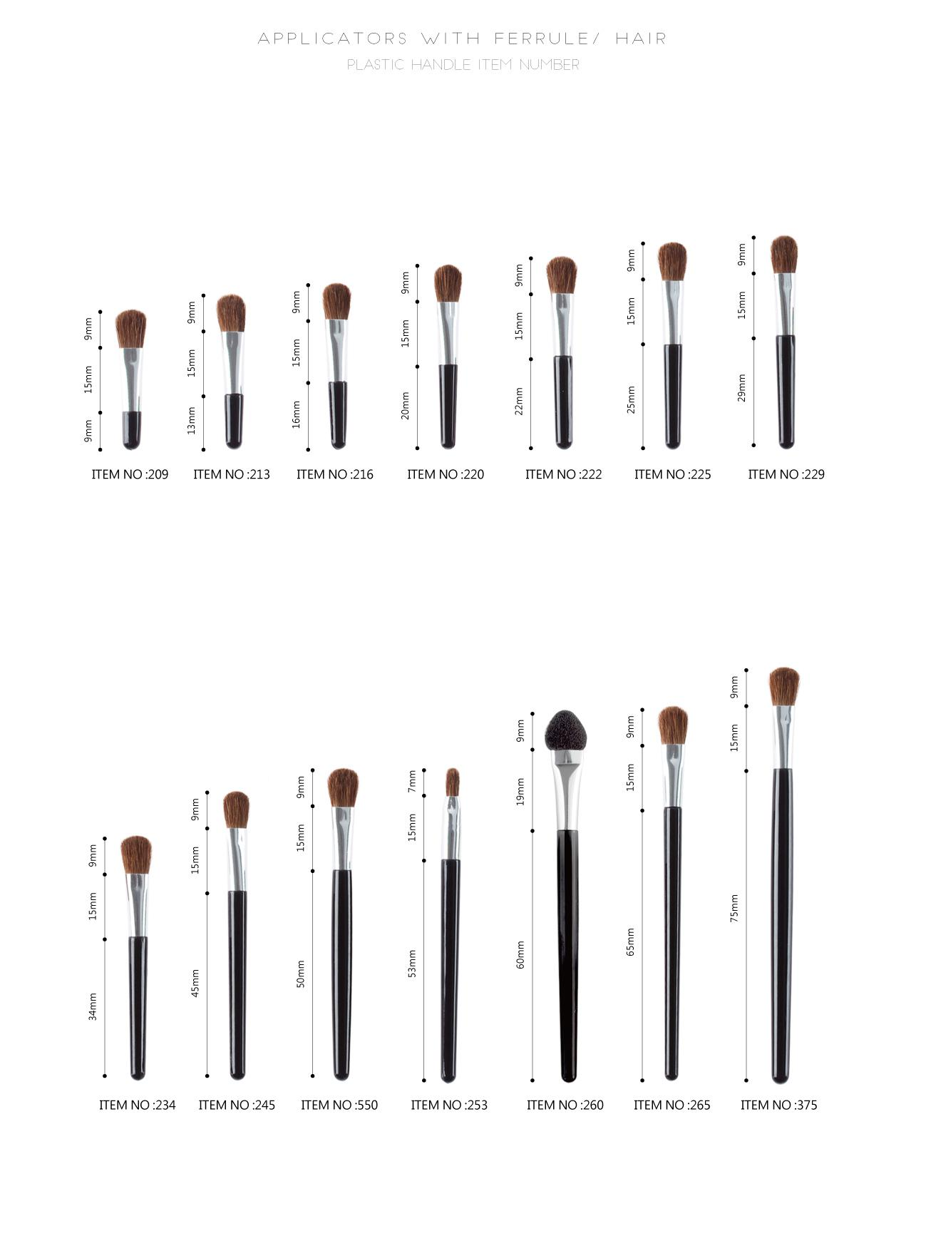 Applicators with Ferrule  Hair (mono-end)