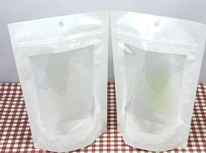 2305 Laminated Stand Bag: White Front with Window 16*23.5 cm@50