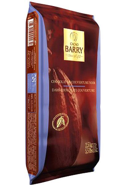 ดารก์ช็อกโกแลต 58% แบบ Block ตรา Cacao Barry 2.5 กก.