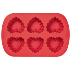 2105-4861 Wilton RUFFLED HEART SIL 6 CAV MOLD