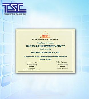 2018 TCC QA Improvement Activity Certificate
