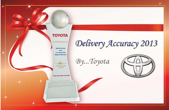 TOYOTA Delivery Accuracy 2013 J.I.T. Service Parts Supplier Performance
