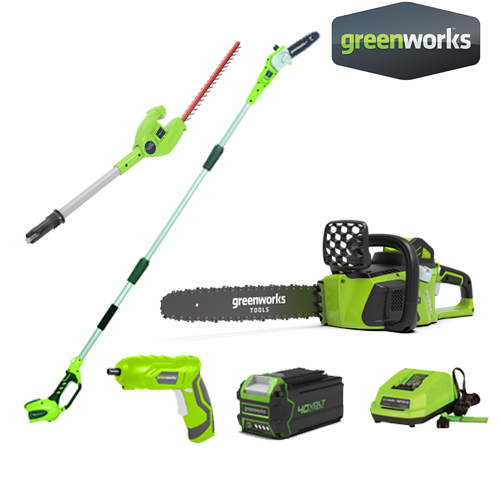 POLE SAW 2 IN 1, 40V INCLUDING BATTERY AND CHARGER + CHAINSAW 40V + Cordless Screwdriver 1.3Ah 4V