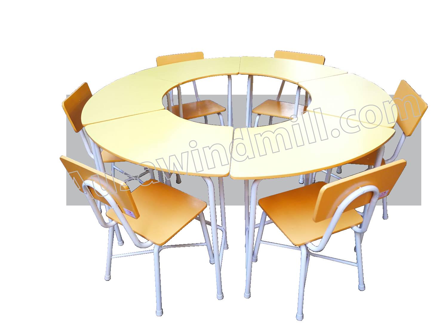 ชุดโต๊ะเก้าอี้นักเรียนหมู่ทรงโดนัท