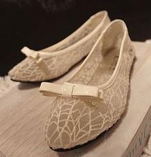 [พร้อมส่ง 36] [Ai-014] Aix++รองเท้า++รองเท้าคัทชูสีครีมลายตะข่ายน่ารักมากๆค่ะ