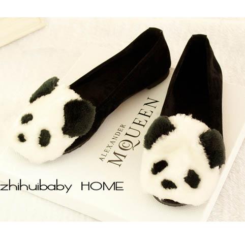 [[พร้อมส่ง36 37 38 39]] [Ai-033] Aix++รองเท้า++รองเท้าคัทชูสีดำลายหมีแพนด้าบุขนด้านในนิ่มมากๆ