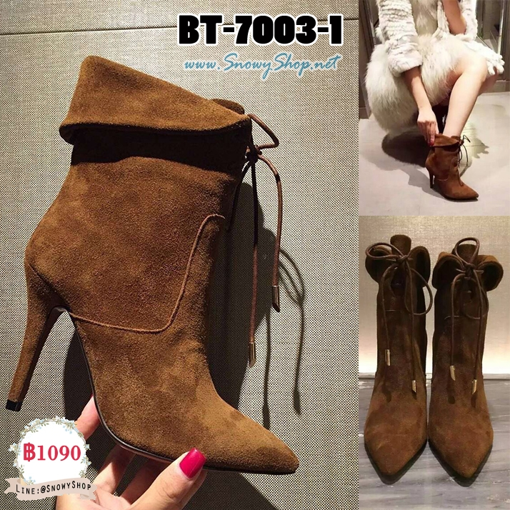 [พร้อมส่ง 36,38,39] [Boots] [BT-7003-1] Boots รองเท้าบู๊ทสั้นหนังกลับสีน้ำตาล ส้นสูงมีเชือกผูกเก๋ๆ หนังนิ่มใส่สบายค่ะ