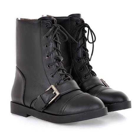 [[พร้อมส่ง 36,37]] [CL-022] Colorful++รองเท้าบู๊ท++รองเท้าบู๊ทสีดำหนังผูกเชือก