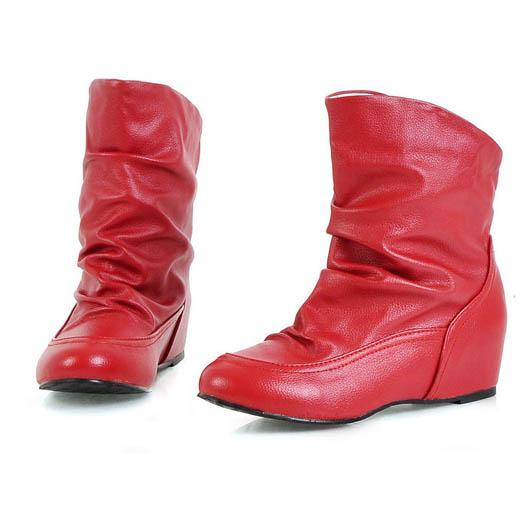 [[พร้อมส่ง 37]] [Boots] [CL-025] Colorful++รองเท้าบู๊ท++รองเท้าบู๊ทสั้นสีแดง
