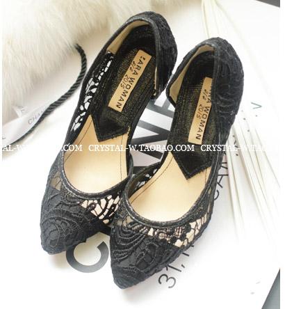 [[ไม่มีผลิตแล้วค่ะ]] [Cs-011] Crystal++รองเท้า++รองเท้าส้นสูงสีดำผ้าลูกไม้