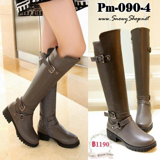 [PreOrder] [Boots] [Pm-090-4] รองเท้าบูทยาวสีเทา หนังPu ใส่กันน้ำ กันหนาว กันหิมะสวยมากๆ