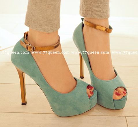 [[พร้อมส่ง 36]] [Qu-013] Queen++รองเท้า++รองเท้าส้นสูงสีฟ้า พร้อมสายรัดข้อ