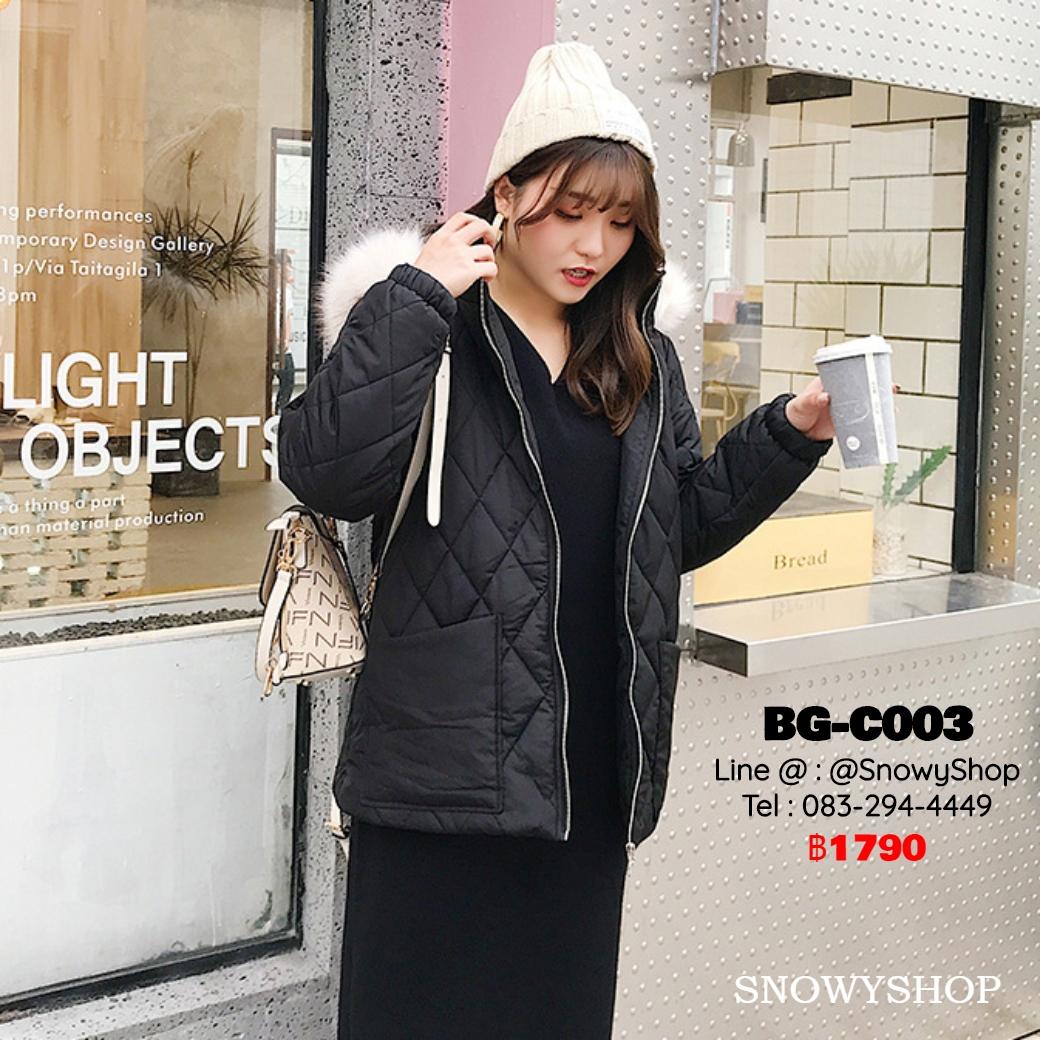 [พร้อมส่ง XL,2XL,3XL,4XL] [BG-C003] เสื้อโค้ทกันหนาวสีดำ หมวกฮู้ดแต่งขนเฟอร์ มีกระเป๋าหน้าสองข้าง ในอุ่นกันหนาวติดลบได้ดี