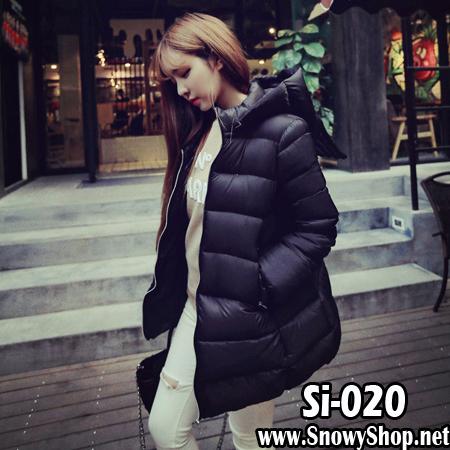 [[*พร้อมส่ง M,L]] [Si-020Coat เสื้อโค้ทกันหนาวสีดำ ฮู้ดมีปีก ผ้าซับขนเป็ดกันหนาว กันหิมะได้ อลังการมาก ไม่เหมือนใครค่ะ