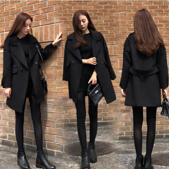 เสื้อโค้ทกันหนาวสีดำผู้หญิง