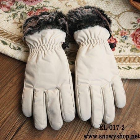 [PreOrder] [EL-017-2] ELถุงมือกันหนาวสีครีมผ้าร่มด้านในบุกันหนาว