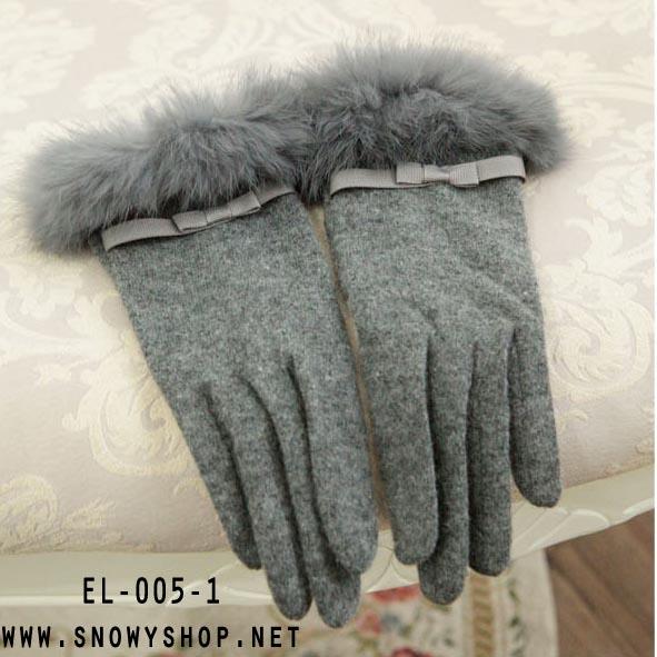 [*พร้อมส่ง] [EL-005-1] EL++ถุงมือ++ถุงมือกำมะหยี่สีเทาแต่งขนเฟอร์สวยค่ะ