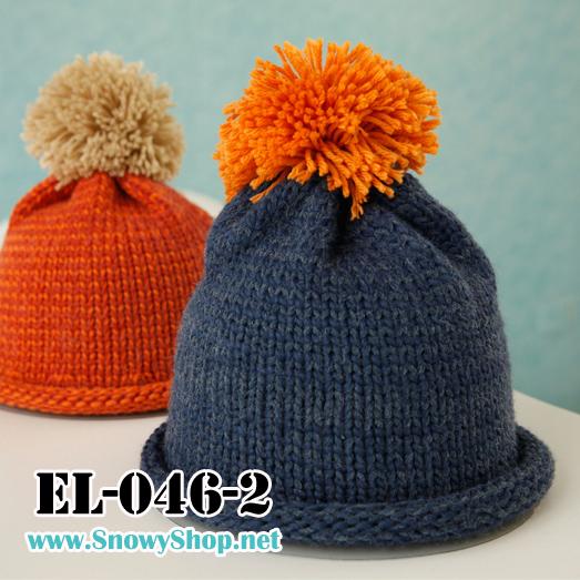[[พร้อมส่ง]] [EL-046-2] EL หมวกไหมพรมกันหนาวสีน้ำเงินมีจุกขนน่ารัก