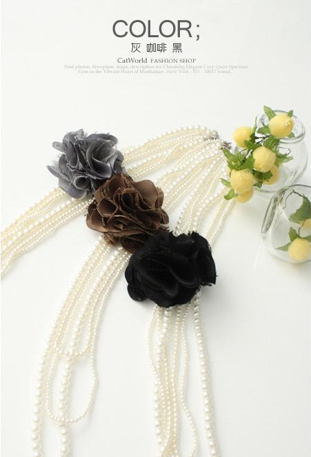 [[พร้อมส่ง ]] [CW-187] CatWorld 100%++สร้อย++สร้อยคอลูกปัดมุขแต่งด้วยดอกไม้สีน้ำตาลค่ะ